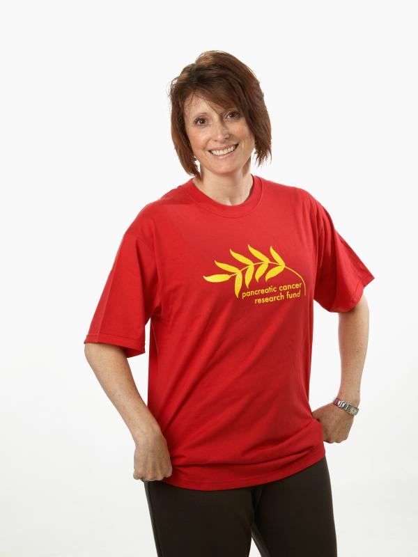 Female model in red t-shirt