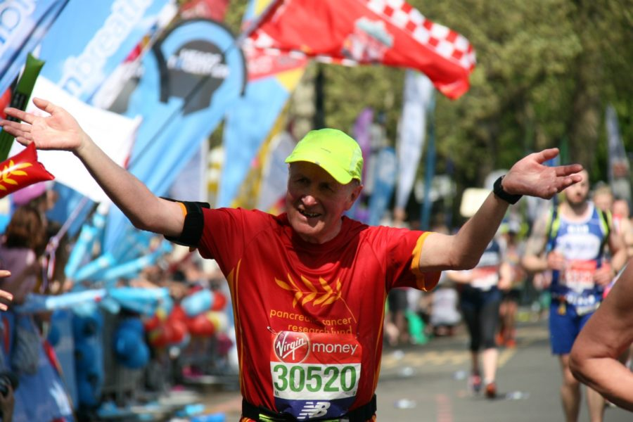 John White finishes the London Marathon