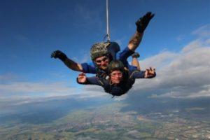Anna Gomori on her tandem skydive