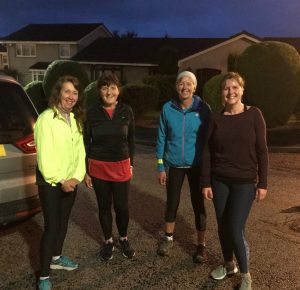Alison Hamel and friends during night time run